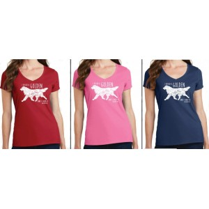 "T-shirt V-Neck ""I Kissed A Golden...""  Color Red"