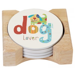 Coaster set with Holder- Dog Lover