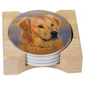 Coaster set with Holder- Goldie